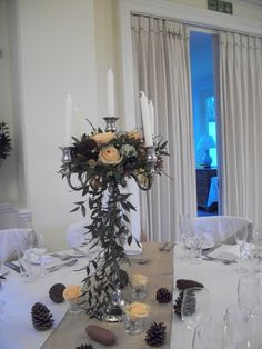 Pretty Candelabra, Chandelier, Table Decorations, Pretty, Furniture, Home Decor, Flowers, Decoration Home, Room Decor
