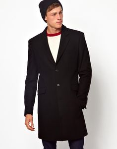$188, Wool Overcoat In Black by Asos. Sold by Asos. Click for more info: http://lookastic.com/men/shop_items/147131/redirect