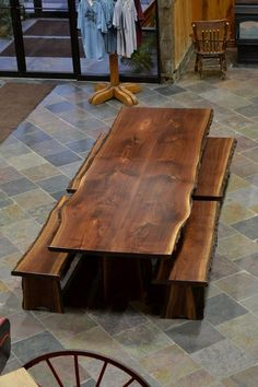 Custom Made Live Edge Walnut Slab Dining Table Wood Slab Table, Wood Table Design, Dining Table Design, Wooden Tables, Dining Room Table, Outdoor Wood Dining Table, Custom Tables, Patio Tables, Hardwood Table