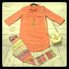 Coral dress Blouse!!! Coral dress blouse, 3/4 sleeve. 100% cotton. You can wear a narrow belt on the waist. Forever 21 Tops Blouses