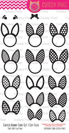 Easter bunny ears Monogram Frames Svg cutting file by CutesyPixel