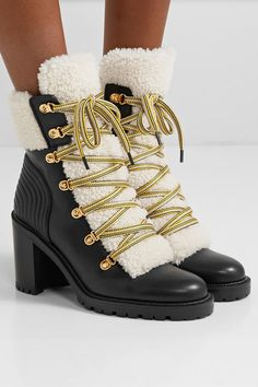 Christian Louboutin - Yetita 70 Shearling-trimmed Leather Ankle Boots - Black Thank you Net-A-Porter for sponsoring today's post. Ankle Boots With Jeans, Black Ankle Boots, Leather Ankle Boots, Black Leather, Red Louboutin, Christian Louboutin Shoes, Bootie Boots, Shoe Boots, Hiking Fashion
