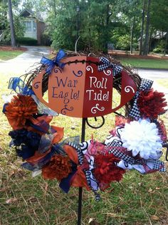 We need an Alabama/Mizzou one! ;)  Alabama/Auburn House Divided Football by mountainridgedesigns, $55.00