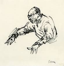 Stravinsky conducting, by Milein Cosman. What a wonderful characterful drawing!