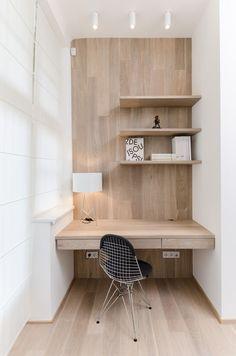 Simple wood office nook desk nook, home office decor, office nook. Desk Nook, Office Nook, Desk Space, Study Office, Small Workspace, Workspace Desk, Desks, Wall Desk, Desk Chair