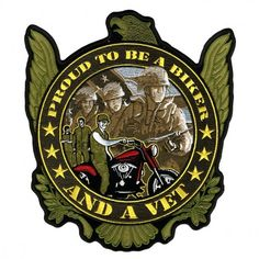 """Proud American and Vet Patriotic Motorcycle Vest Patch comes on a military green background having an American eagle at the top with embroidered soldiers and motorcycle design in the center with yellow """"Proud to Be a and a Vet"""" design for Veteran and Patriotic motorcycle riders."""