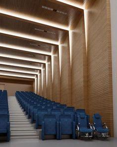 Architectural Lighting Feature, Light +Materials, Vertical to Horizontal Cove, Auditorium Lighting Auditorium Design, Auditorium Architecture, Theater Architecture, Architecture Details, Interior Architecture, Flur Design, Plafond Design, Hall Design, Hall Interior