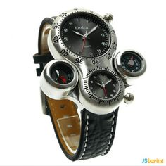 OULM OULM Men's Military Watches Dual Movement Compass Thermometer Leather Strap Sports Mens Watches is hot-sale, stainless steel watch, sport watches for men, and more other cheap mens watches are provided on NewChic. Mens Watches Online, Cheap Watches For Men, Mens Designer Watches, Vintage Watches For Men, Cool Watches, Casual Watches, Gents Watches, Sport Watches, The Watch Shop