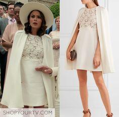 Cristal Flores wears this white Giambattista Valli minidress with cape on Dynasty 1x01