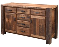 Dining Furniture Ideas : Stately and rustic in appearance, the Portland Reclaimed Buffet is packed with modern conveniences like full extension, soft-closing storage drawers. Amish Furniture, Western Furniture, Reclaimed Wood Furniture, Diy Pallet Furniture, Reclaimed Barn Wood, Dining Furniture, Rustic Furniture, Furniture Decor, Outdoor Furniture