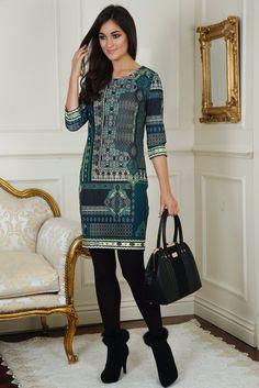 Lizzy Green  Print Tunic Dress
