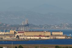 San Quentin Prison in California jutting out into the San Francisco Bay. Interestingly, the prison is located on prime real estate valued at hundreds of millions of dollars and is the oldest prison in the state.