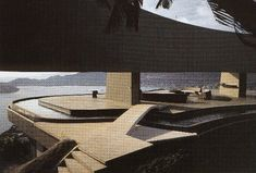 View showing the circular pool going around terrace; Marbrisa Residence, John Lautner, Acapulco, Mexico, 1973