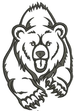 bear Machine Embroidery Design by embroiderypapatedy on Etsy Bear Tattoos, Animal Tattoos, Tribal Bear Tattoo, Wood Burning Stencils, Wood Burning Art, Basic Art Techniques, Bear Paw Print, Bear Paws, Scroll Saw Patterns