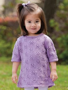 Lacy A-Line Baby Dress Knit Pattern from Annie's Craft Store. Order here: https://www.anniescatalog.com/detail.html?prod_id=136686&cat_id=469