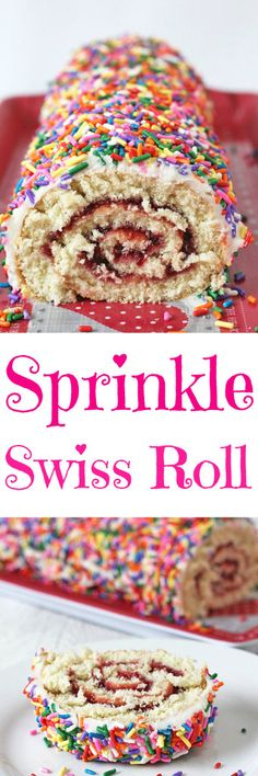 A basic swiss roll recipe, filled with raspberry jam, covered in vanilla buttercream and decorated with sprinkles | My Fussy Eater