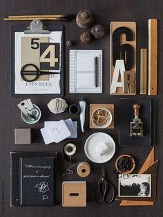 Organise your office with IKEA Flat Lay Inspiration, Ikea Inspiration, Inspiration Boards, Interior Inspiration, Ikea Home Office, Studio Build, Blackboards, Office Interiors, Scandinavian Design
