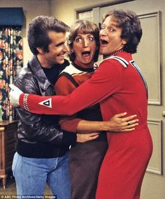 Cosmic: Robin Williams as Mork from Ork in Happy Days with Henry Winkler and Penny Marshall. The show Mork and Mindy was a spinoff from this Happy Days episode.