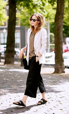 A relaxed look featuring a blazer, culottes, and Birkenstocks
