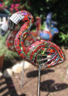 Kim Larson Art, Mosaics + More: Pink Flamingos - Mosaic Sculptures