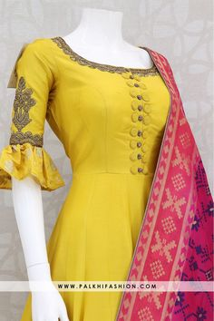 Trendy Light Yellow Indian Outfit With Pure Silk Dupatta - Designer Dresses Couture Salwar Suit Neck Designs, Silk Kurti Designs, Neck Designs For Suits, Salwar Designs, Dress Neck Designs, Kurti Designs Party Wear, Designs For Dresses, Blouse Designs, Chudidhar Neck Designs