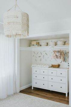 Baby girl nursery, closet into changing table, dresser in closet, boho pendant, … - Home & DIY Baby Room Boy, Baby Nursery Closet, Baby Room Decor, Girl Room, Baby Girl Bedroom Ideas, Baby Girl Closet, Nursery Dresser, Nursery Ideas For Girls, Nursery Room Ideas