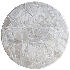 Always custom Runway pattern shown in cream #cowhide #white #rug #circle