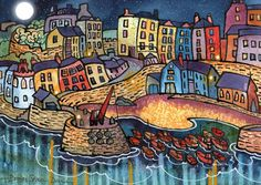 "~ Harbour Lights,Tenby ~ Dorian Spencer Davies ~  born in Carmarthen, West Wales ~ ""spent  early years in the Pembrokeshire village of Angle Bay. I think growing up in this wonderful, unspoilt, and remote coastal Village had a large influence on my work to this very day. I remember vividly the various boats in the Haven and being fascinated with everything to do with the sea"". Later I lived in Tenby and New Quay, which are two of the most picturesque coastal, harbour towns in the country."" ~"