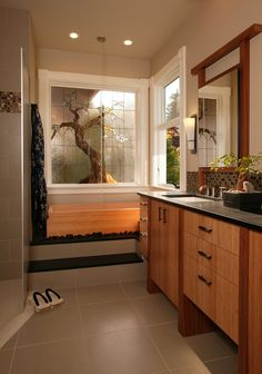 Asian Master Bathroom with stone slab showerbath, Daltile Soiree Nevis Mosaic Tile, Inset cabinets, Soapstone counters