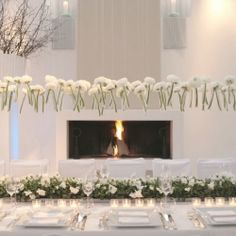 A classic and elegant palette of pewter and white, with bold hanging flower details