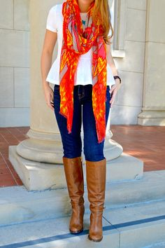 Riding Boots + Bright Scarf