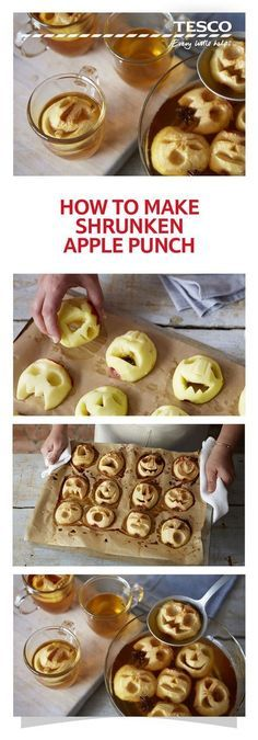 How to make shrunken apple punch How to make shrunken apple punch Terrify your friends and family this Halloween with our unforgettable drink a cider punch topped with ghoulish shrunken apple heads Tesco How to make shrunken apple punch Halloween Snacks, Halloween Torte, Pasteles Halloween, Soirée Halloween, Hallowen Food, Halloween Dinner, Halloween Birthday, Halloween Decorations, Tesco Halloween