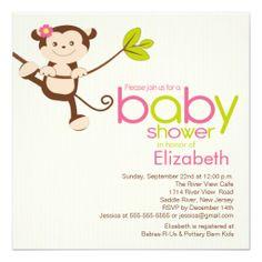 Cute Monkey Girl Baby Shower Invitation