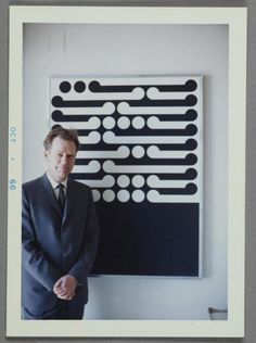 Object: Gordon Walters in front of his painting Te Whiti (1964) | Collections Online - Museum of New Zealand Te Papa Tongarewa