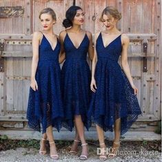 Navy Blue Irregular Hem Tea Length Country Bridesmaid Dresses 2018 Blush Lace V-neck Spaghetti Garden Maid of Honor Wedding Guest Gown Mermaid Wedding Dress Rose Gold Sequin Dress Country Bridesmaid Dress Online with $99.43/Piece on Kazte's Store | DHgate.com