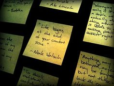 Wall of post it note quotes, words