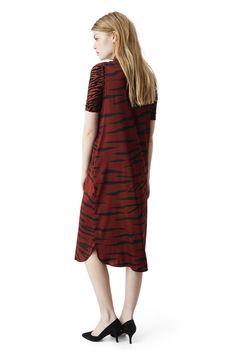 Ganni New Arrivals | Iona Silk Dress, Brick Tiger