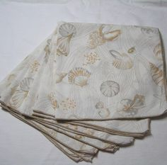 Set of 6 Vintage 1980s Sea Shell Dinner Napkins In Tan & Gray, Subtle Ocean Beach Theme Table, Collecting Seashells, 17.25 x 17.5 Inches by VictorianWardrobe on Etsy