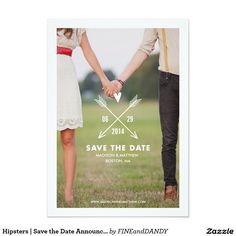 """Hipsters   Save the Date Announcement 5"""" X 7"""" Invitation Card"""