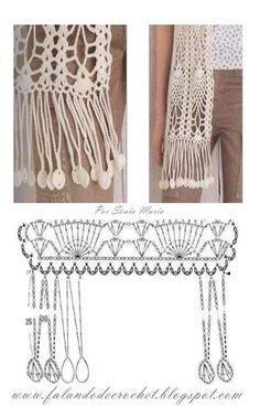 """""""FALANDO DE CROCHET"""": FRANJA DE CROCHÉ PINGENTES PUFFS.  Graph for this scarf and edging."""