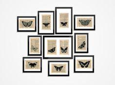 Collage 11 Butterflies Dictionary Art  Art print by FramedBooksArt