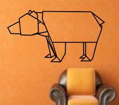 [inspiration] Origami Bear Geometric Masking Tape Wall, Tape Wall Art, Tape Art, Wall Decal Sticker, Wall Stickers, Origami Animals, Idee Diy, Creative Crafts, Canvas