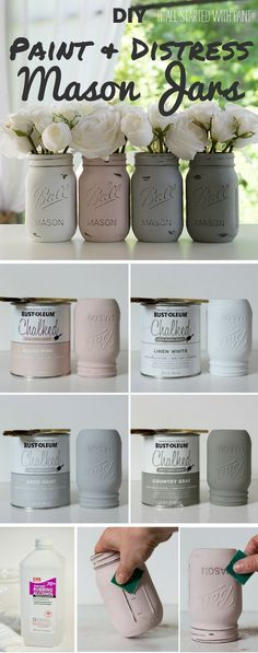 Check out the tutorial: #DIY Paint and Distress Mason Jars @istandarddesign(Jar Diy Ideas)