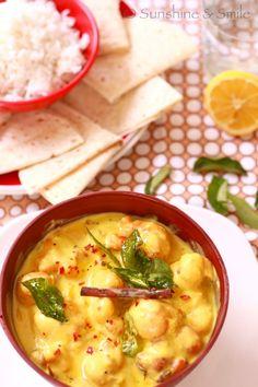Kadhi Pakodi/Chickpea Dumplings in Yogurt Soup - Playful Cooking My Favorite Food, Favorite Recipes, Tasty Vegetarian Recipes, Low Sugar Recipes, Vegan Menu, Savoury Dishes, Dumplings, Soup And Salad, Kitchens
