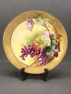 Hand Painted Artist Signed Limoges Grapes & Gold Dinner Plate Ovington Bros NY #LIMOGES