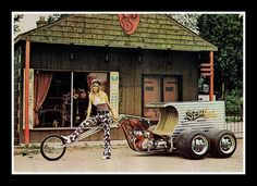 """""""Semi-Cycle"""" Show Bike, 1973 by Cosmo Lutz. Okay it's got more than two wheels, but I remember this from when I was a kid. Custom Trikes, Custom Choppers, Custom Motorcycles, Custom Cars, Cars And Motorcycles, Vw Trike, Trike Motorcycle, Trike Chopper, Triumph Motorcycles"""