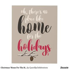 Christmas 'Home For The Holidays' Quote Pinecone Panel Wall Art @zazzle