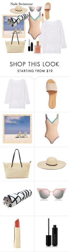 """""""Nude swimwear"""" by amaryllis11 ❤ liked on Polyvore featuring Hinge, kiini, Fendi, Marc Jacobs and Estée Lauder"""