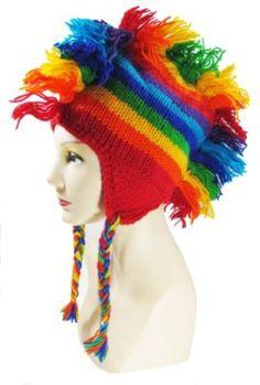 Amazon.com  100% Wool Hand Crocheted Rainbow Mohawk Hat with Ear Flaps Super 94b9670029e7