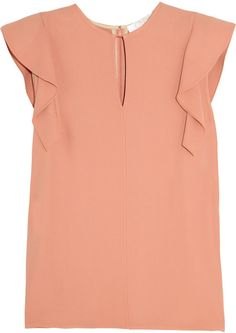Chloé Orange Ruffled Crepe Top